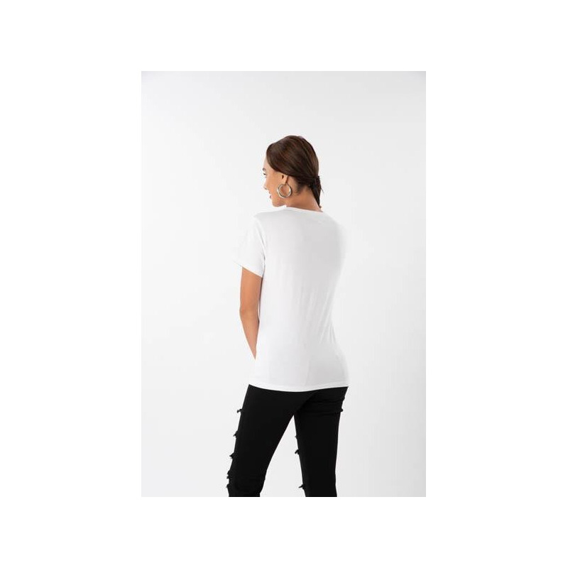 Blusa blanca manga corta estampada 019177