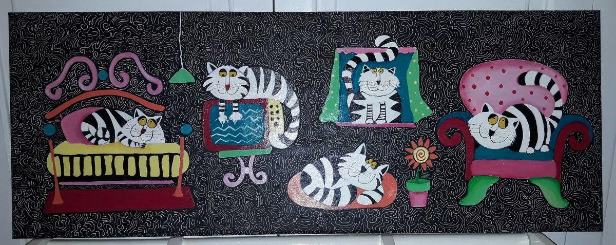 """Cuadro """"Vida de gatos"""" Sergio Eisen"""
