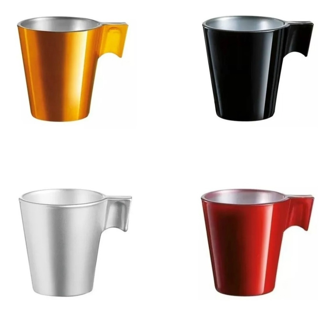 Taza Jarro Cafe Luminarc Flashy Longo 220 Ml Colores Set X4