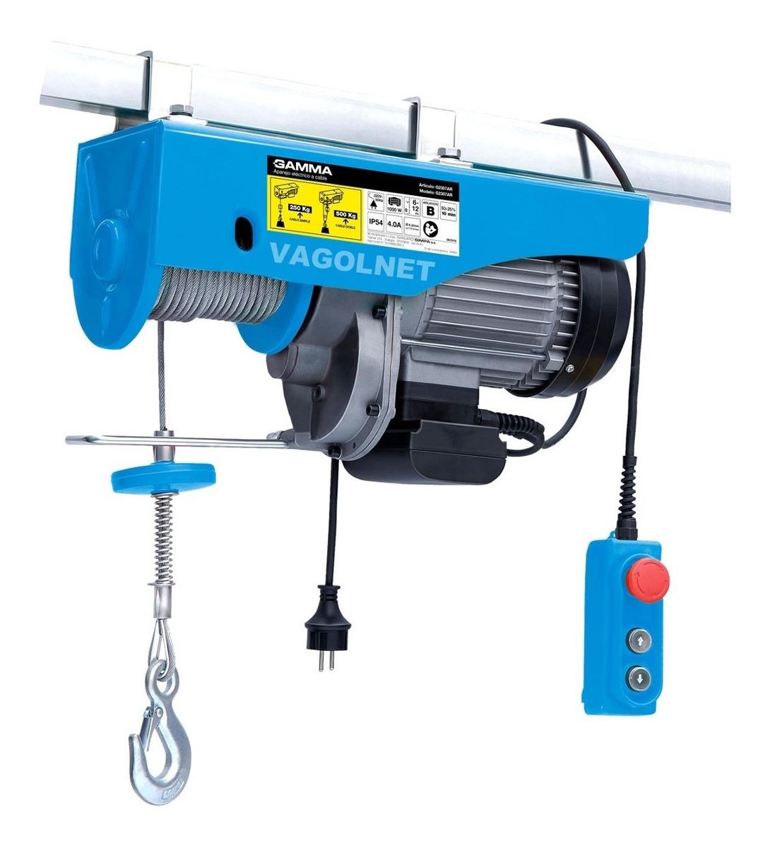 Aparejo Electrico A Cable 1000w 250 / 500 Kg 11-5.5mts Gamma