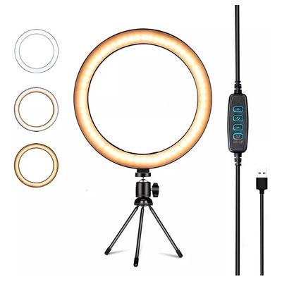 Lampara Aro Luz Led Tripode De Mesa Bluetooth 10w Selfie