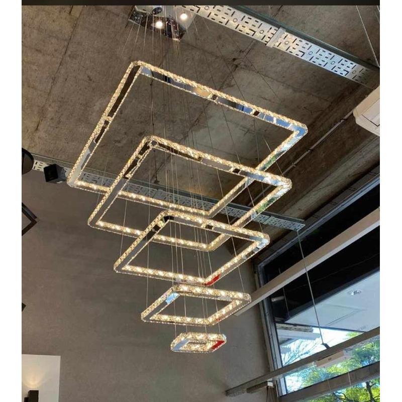 Lampara Colgante 5 Aros 184w Led Cristal Cuadrado Moderno Vs