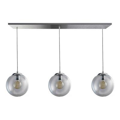 Colgante 3 Luces Globo 25cm Transparente Deco Apto Led Cromo