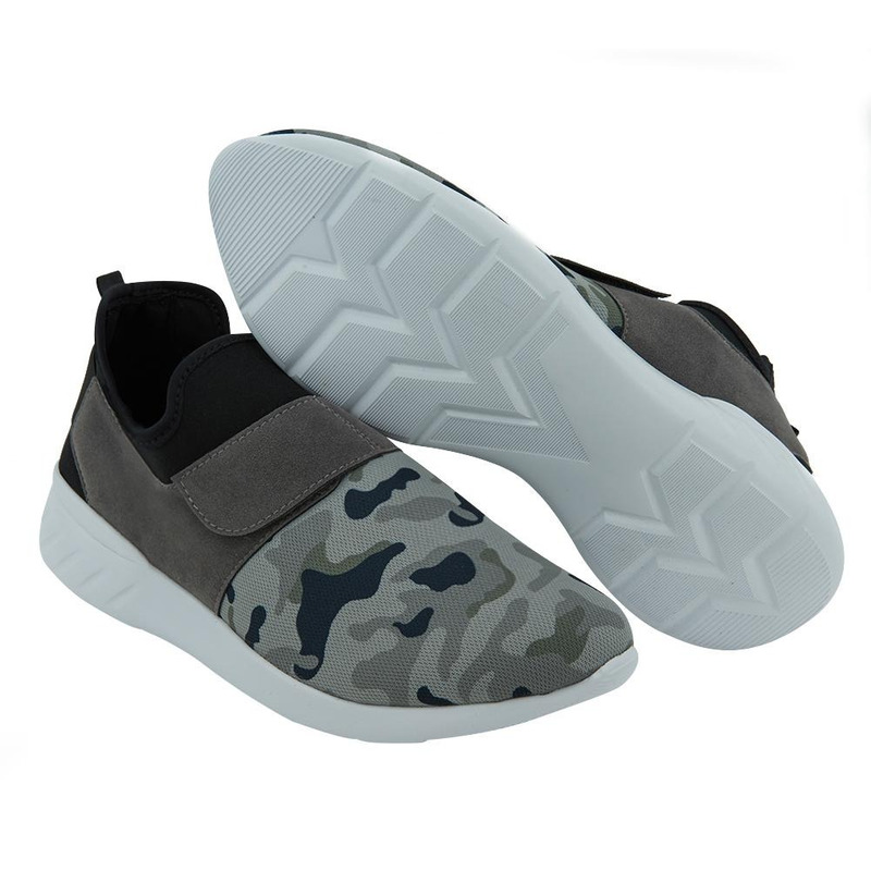 Sneakers Grises Con Camuflaje 017602