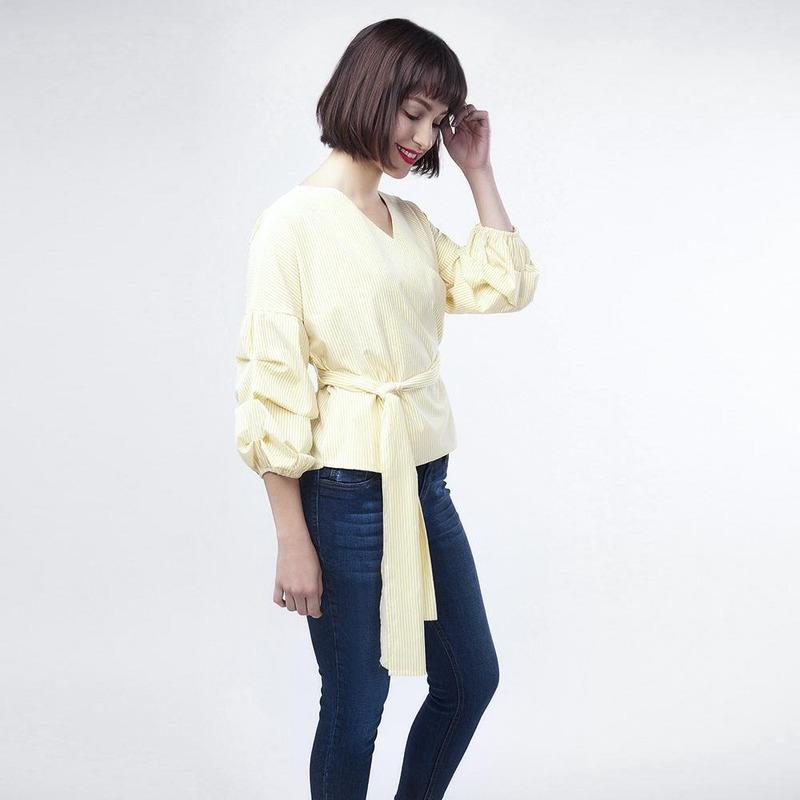 Vestido Amarilla Con Liston En Cintura 017331