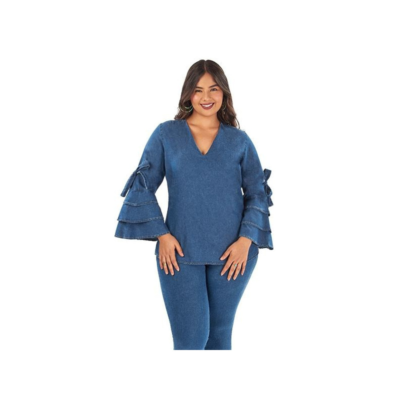 Blusa mezclilla mangas en campana 014525P