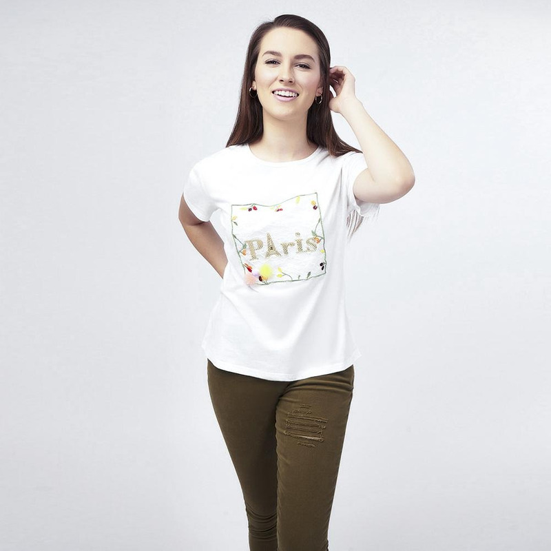 Blusa Blanca Con Estampado 017261