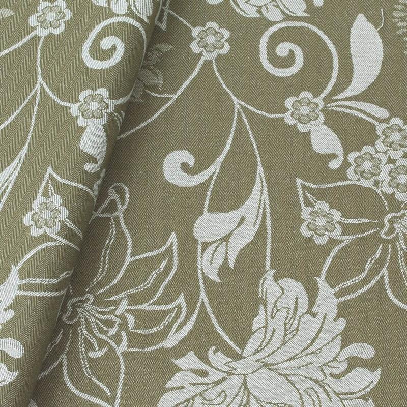 Tecido jacquard floral - fendi/branco - Impermeável - Coleção Panamá