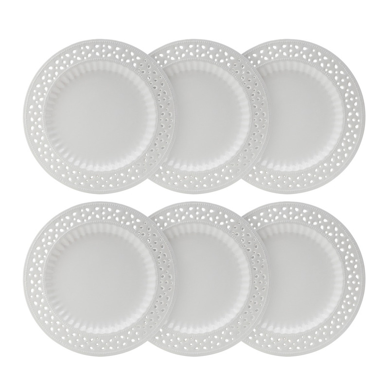 Jogo 06 Pratos Rasos  Provençal Porcelana Branca  - Bon Gourmet 3103762