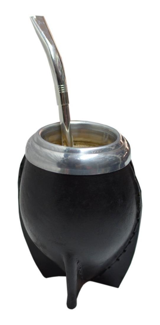 Mate Torpedo Calabaza  Cuero Bombilla Pico De Loro Calabaza