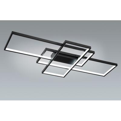 Plafon Led Rectangle Negro 93w Moderno Calidad Premium Gmg