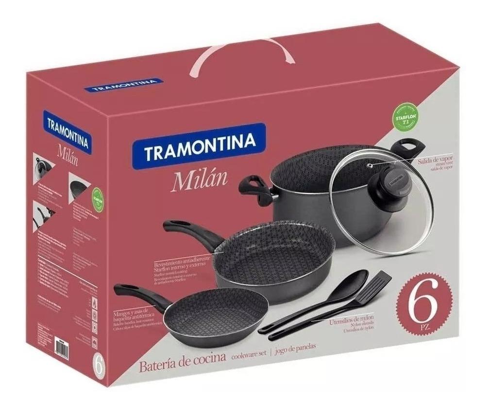 Bateria Cocina Teflon 6 Pzs Tramontina Paris Milan  Utensi