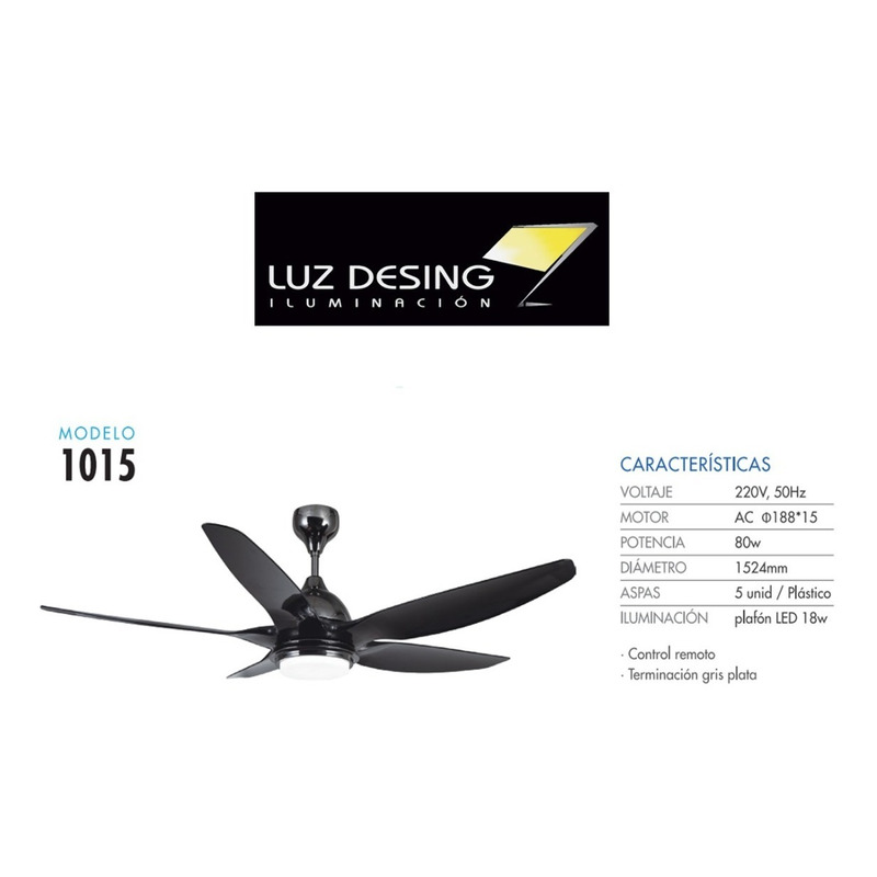 Ventilador Techo C/ Luz Led 18w Ctrl Remoto Mod 1015 Ax