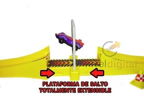 Pista Lanza Autos Rampa Plataforma Salto Extensible + Auto