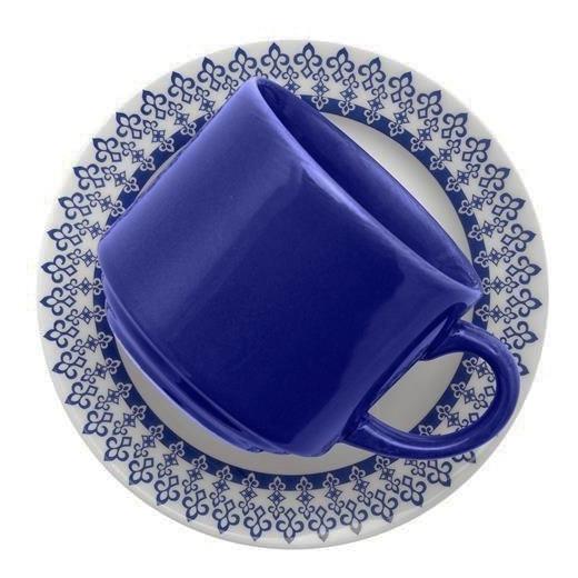 Set X 6 Tazas Plato 220 Ml Loza Biona Deco Grecia Te Cafe