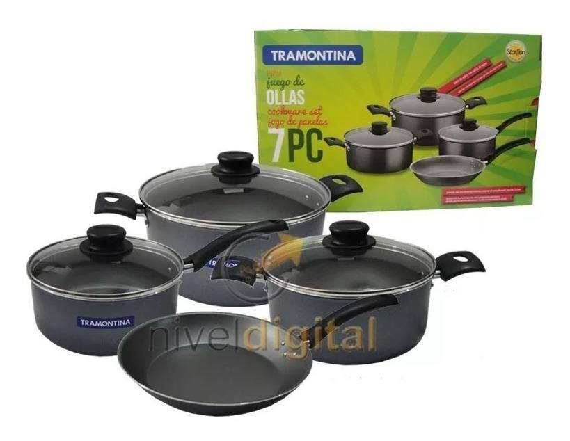 Set Bateria Teflon Tramontina Ollas+ Sarten+ Bifera+ Pizzera