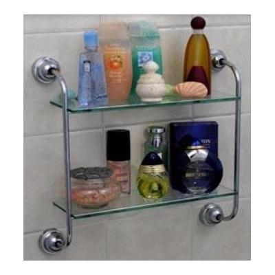 Repias ba o multiuso doble estante vidrio y metal cromado for Estantes vidrio bano