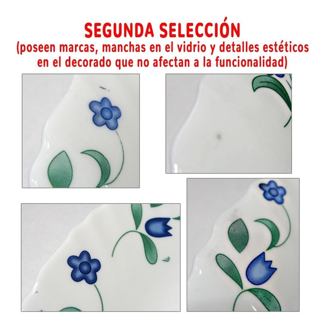 Set 20 Pz Vajilla Platos Vidrio Blanco Deco Flores 2da Selec