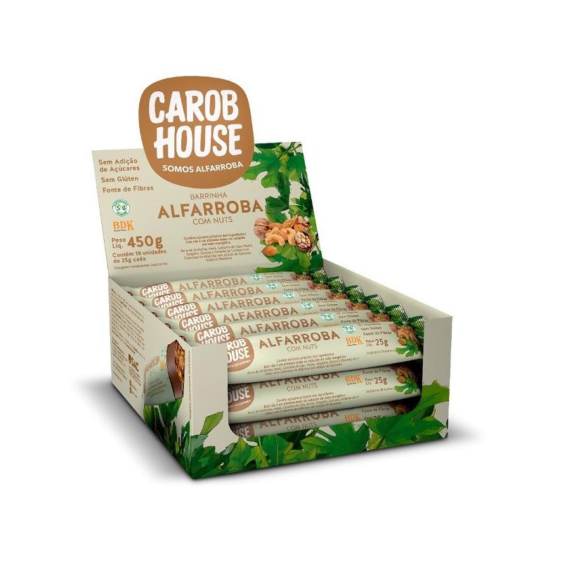 Barra de Alfarroba com Nuts - Cx.18X25g - CarobHouse