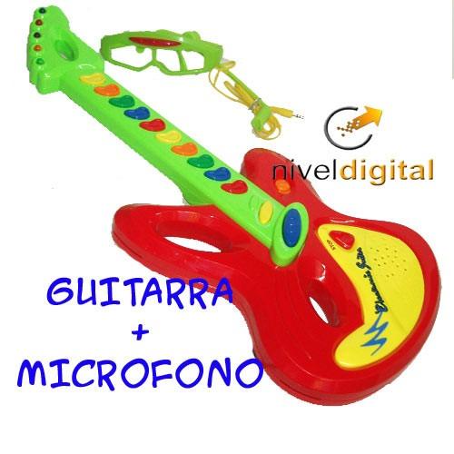 Guitarra Melodias Musica Lentes Microfono Sonido Real Luces