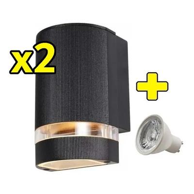 Pack X 2 Aplique Unidireccional Exterior Aluminio Con Led