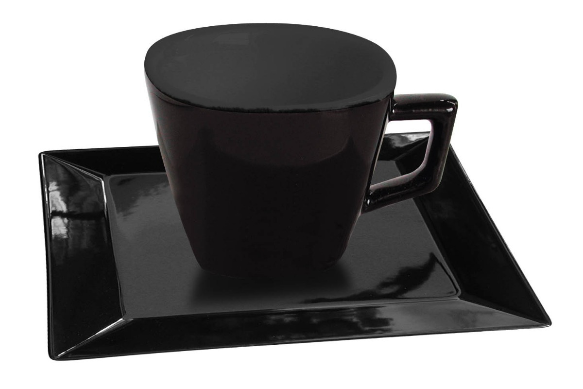 Taza Pocillo 75 Ml Porcelana Negro Plato Cuadrad Oxford Cafe