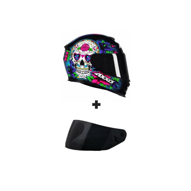 Capacete Axxis Eagle Skull Gloss Preto e Azul Com Viseira Fumê