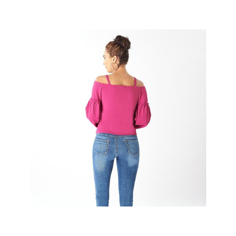 Blusa rosa manga larga hombro caído 014391