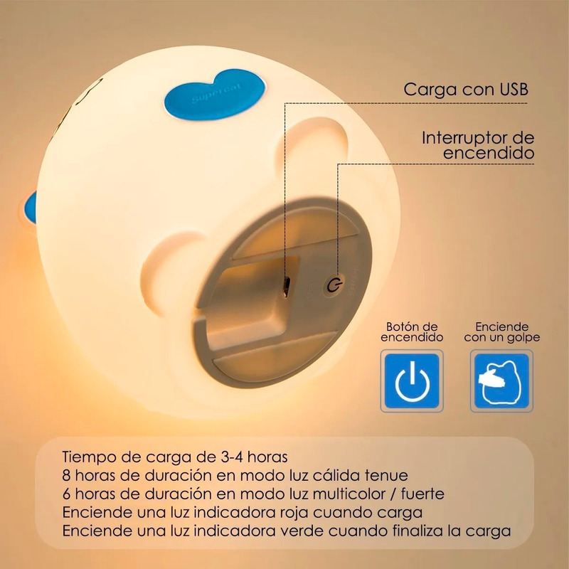 Lampara Velador Infantil Gatito Silicona Led Color 1 Mc