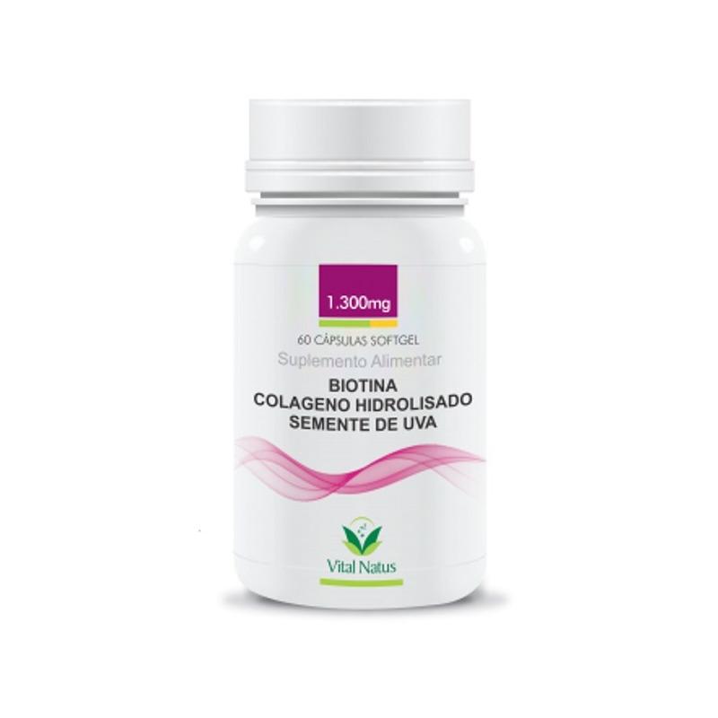 Biotina+Colageno+Semente de Uva - 1300mg 60Caps Vital Natus