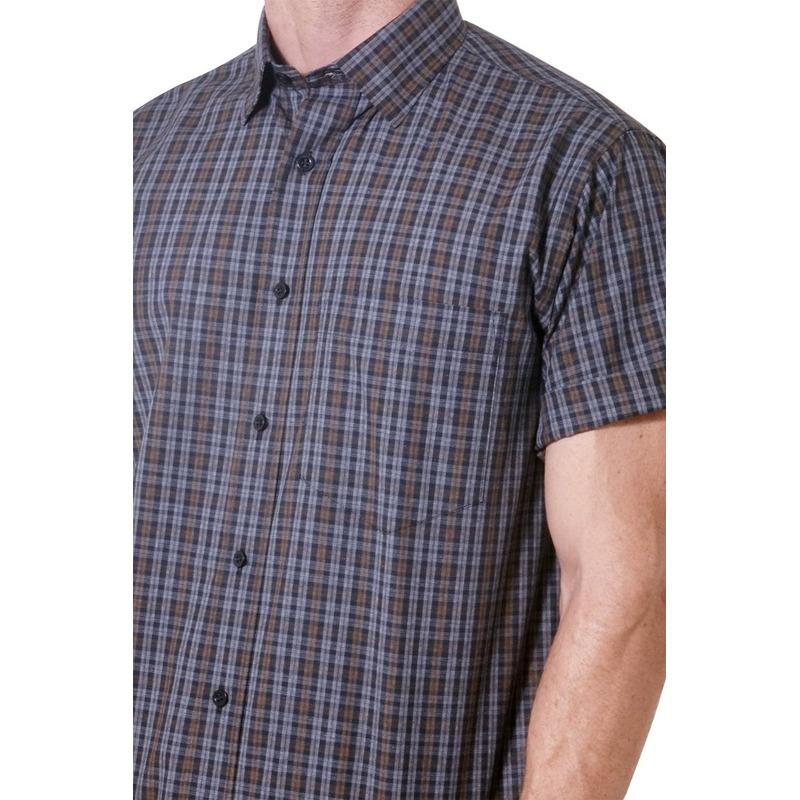 Camisa casual masculina tradicional algodão fio 40 preto f05531a