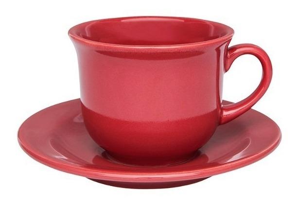 Set X 6 Tazas Plato 220 Ml Porcelana Rojo Oxford Desayuno Te