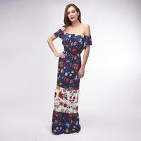 Vestido Azul Con Estampado Floral 019363