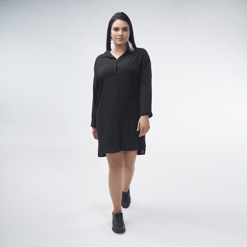 Vestido Negro Con Estampado En Espalda  017105