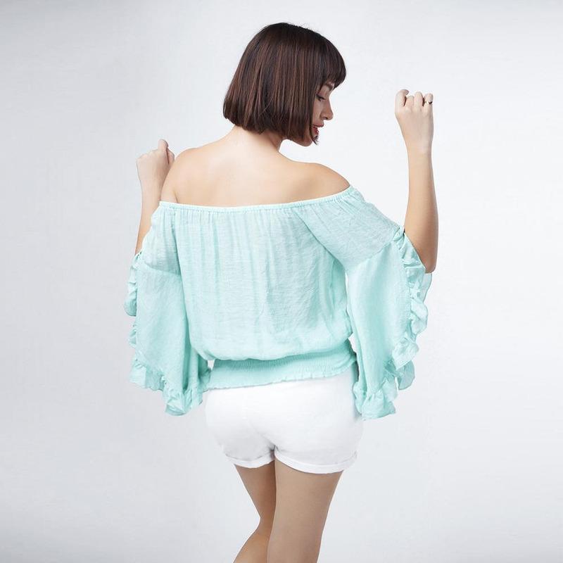 Blusa Verde Ombro Descubierto 017094