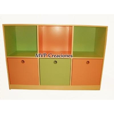 Mueble infantil biblioteca guarda juguetes cubos y m s - Cajones guarda juguetes ...