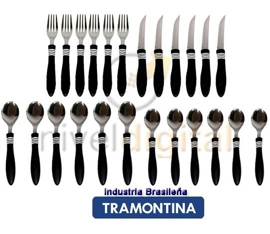 Set 24 Cubierto Tramontina Cor & Cor Blister Retiro Floresta