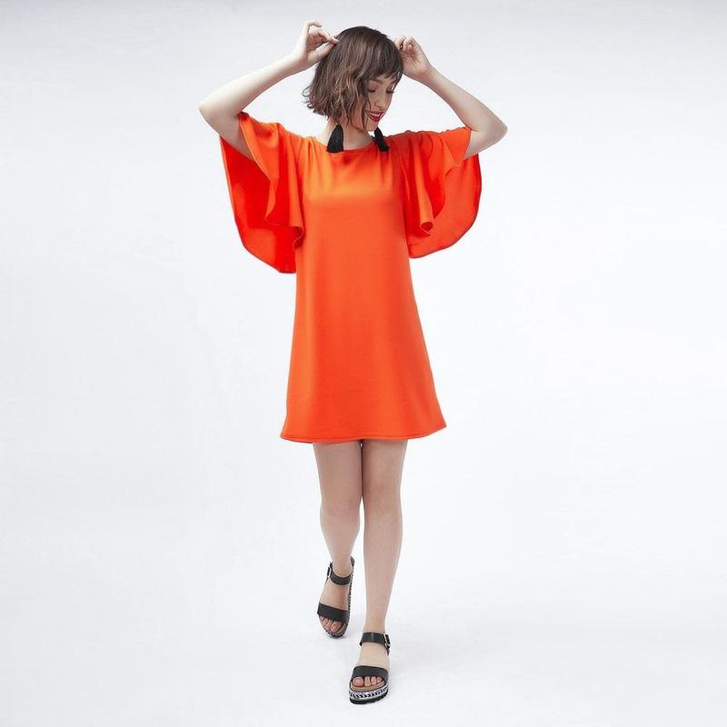 Vestido Naranja Casual 019381