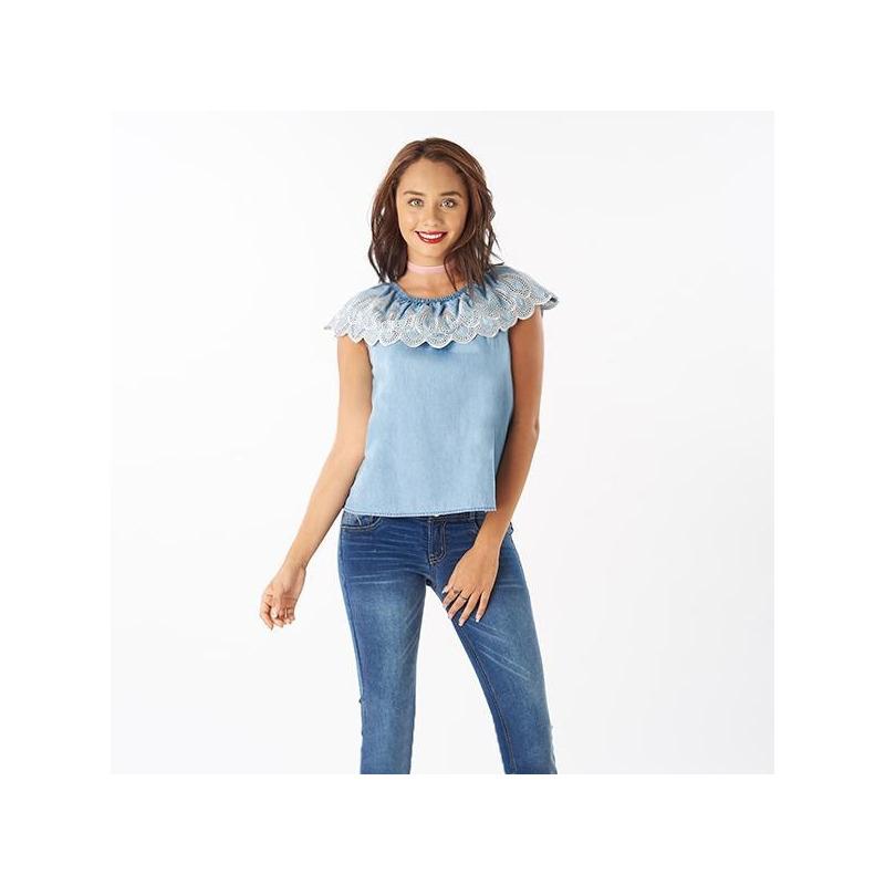 Blusa azul olán bordado 019123