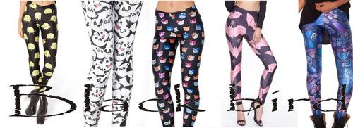 Calzas Importadas Leggins Estampadas Anime Gatos Búho Mickey