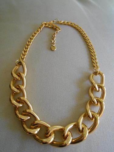 Gargantilla - Collar - De Cadena Gruesa De Aluminio Dorado