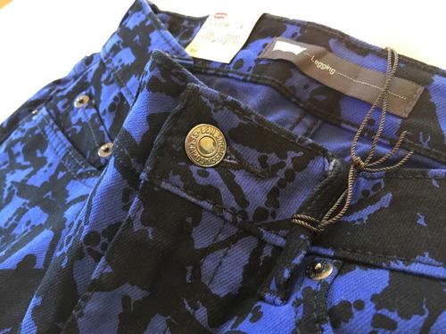 Jean Levis Legging, Negro Y Azul, Elastizado Exclusivo!
