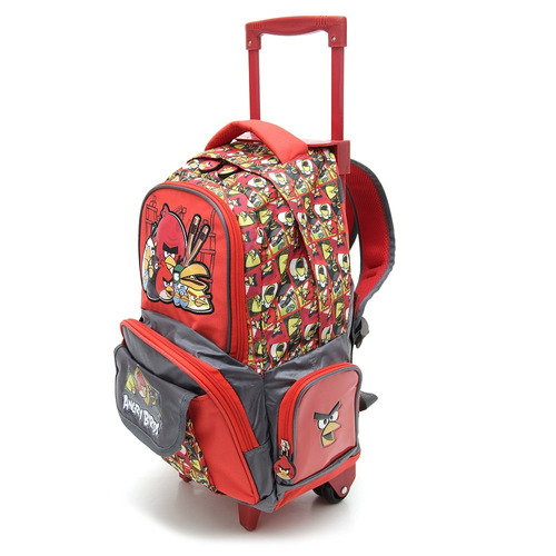 Mochila Angry Birds Con Carro 17 Estampada Roja