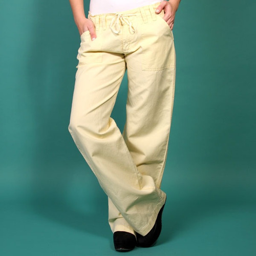 Pantalon Santa Bárbara Lino Con Bolsillo Lateral Amarillo Y