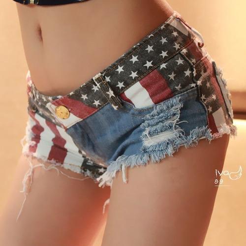 Short Jeans Con La Bandera Americana - Usa
