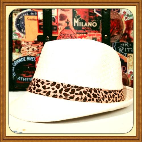 Sombrero Borsalino Con Cinta Animal Print