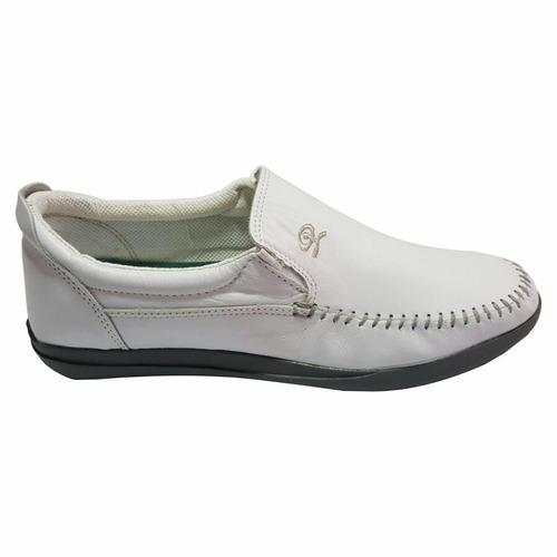Zapato Náutico Cuero Blanco (base Gris)