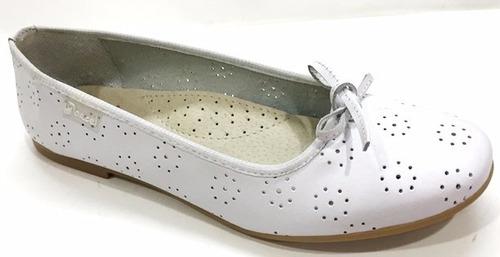 Zapatos-balerinas De Cuero Comunion N°34 Al 40 Mundo Ukelele