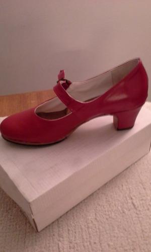 Zapatos De Flamenco Cuero Vacuno Nuevos